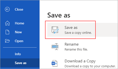 Save a copy to OneDrive