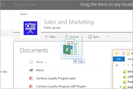 Drag a file to a SharePoint documents library