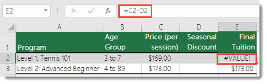 Example of a #VALUE! error caused by a leading space in cell D2 - Formula in Cell E2 is =C2-D2