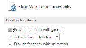 Partial view of Word's Ease of Access settings