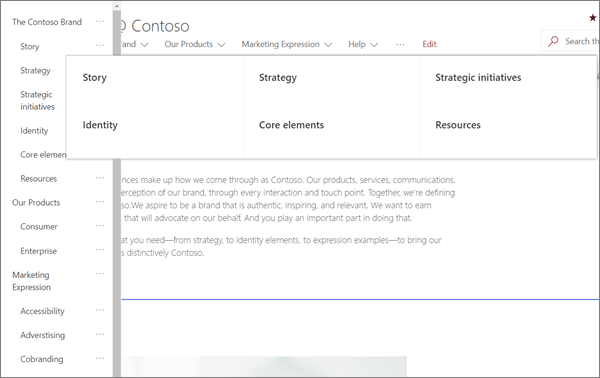 Example of MegaMenu navigation for a modern Brand site in SharePoint Online