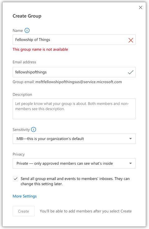 An image showing the options available to admins for groups.