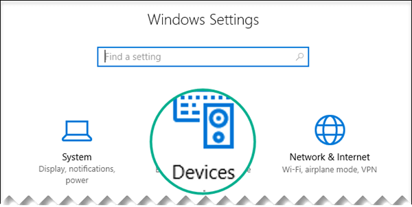 Select Devices in the Windows Settings dialog box