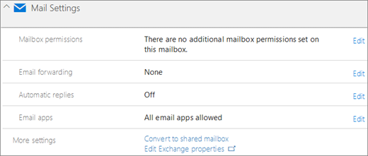 Screenshot: Office 365 Mail settings