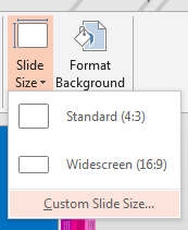 From the Slide Size menu, click Custom Slide Size.