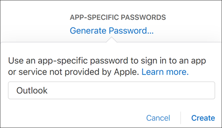 Enter a name for your app password