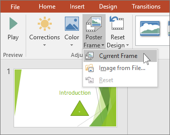 shows poster frame video option in powerpoint