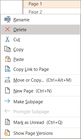 Delete page in OneNote for Windows dialog