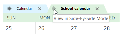 Click the View in Side-by-Side Mode arrow