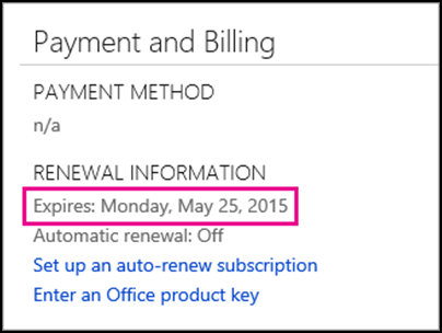 Subscription renewal details on Office 365 Account page.