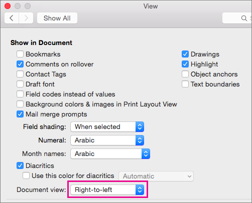 Document view options in the View dialog box