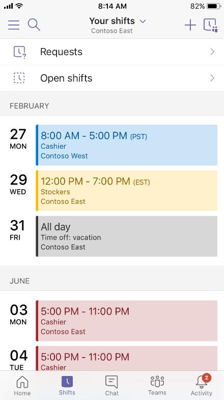 Shifts calendar
