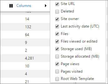 Column options for SharePoint usage report