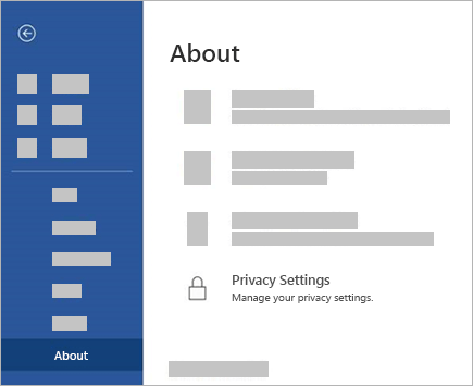 Screenshot of the Privacy Settings button