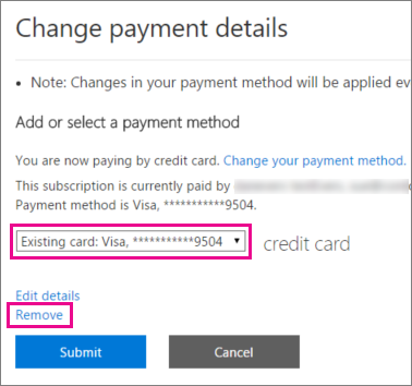 Link to remove a credit card from an Office 365 for business subscription.