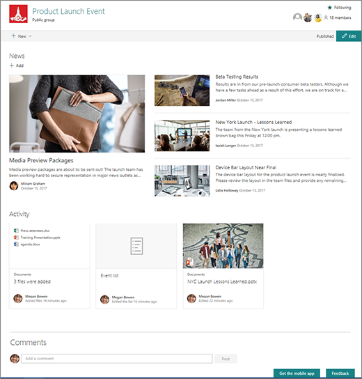 SharePoint Teams site home page