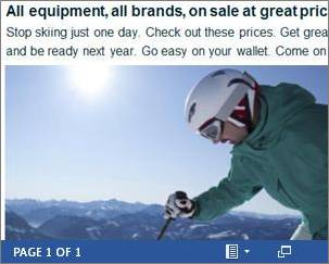 Example of a Word document as an embedded ski sale flyer