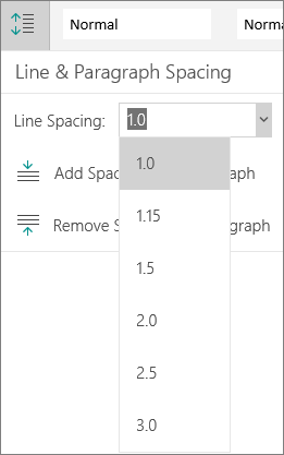 Line spacing options