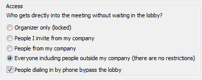 Lync Meeting Access options