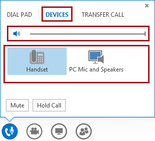 Screen shot of audio menu in a meeting