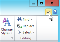 The Minimize Ribbon arrow