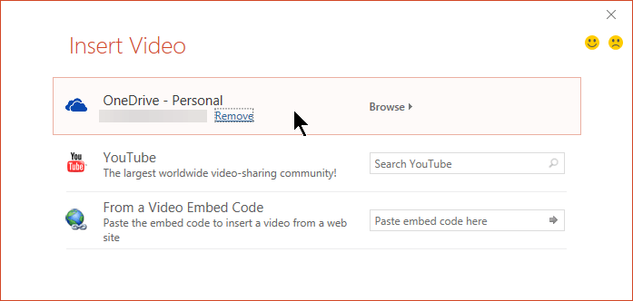 The Insert Video dialog includes options for YouTube, Facebook, and OneDrive.