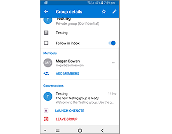 Group details with a Launch OneNote link