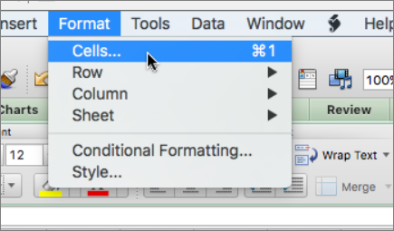 Fix data that is cut off in cells - Excel for Mac