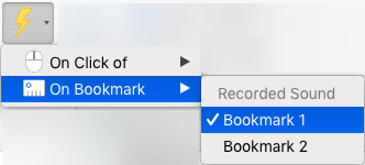 Trigger an animation to play on a bookmark
