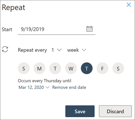 Creating a recurring meeting in Outlook on the web