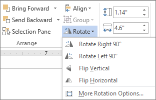 Rotate menu options