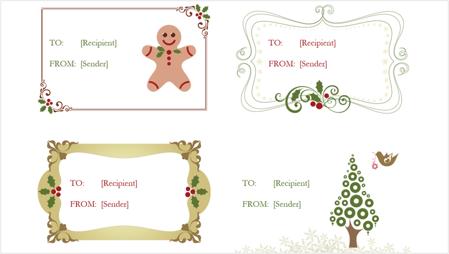 Image of 4 holiday gift tags