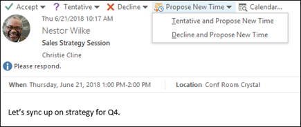 You can propose a new time from a meeting request.