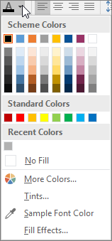 Font color palette