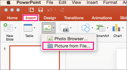 Shows Insert > Pictures > Picture from file command in PowerPoint 2016 for Mac