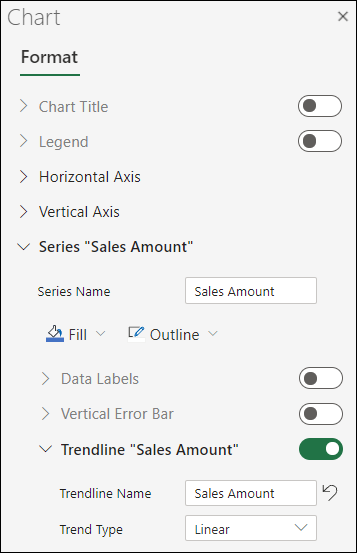 Trendline for Excel for the web