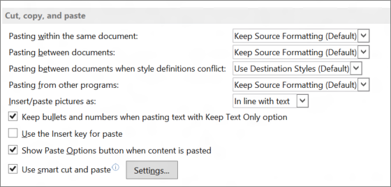 Word 2013 cut, copy, and paste options