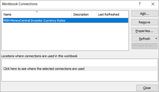 The Workbook Connections dialog box