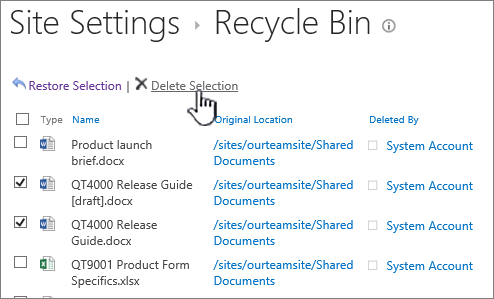 SharePoint 2013 2nd level recycle bin delete button