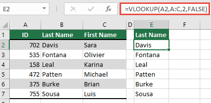 Use the traditional VLOOKUP with a single lookup_value reference: =VLOOKUP(A2,A:C,32,FALSE). This formula will not return a dynamic array, but can be used with Excel tables.