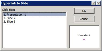The Hyperlink to Slide dialog box