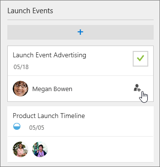 Screenshot showing multiple people assigned to a Planner task