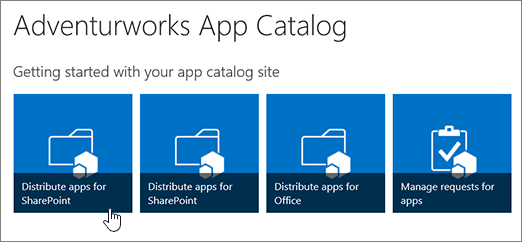The Getting started with your app catalog tiles with Distribute Apps for SharePoint highlighted.