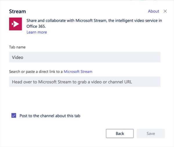 Stream tab setup dialog box