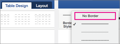 No Border is highlighted in Line Styles