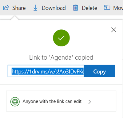 Copy Link confirmation when sharing files via link in OneDrive