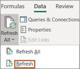 Mouse pointing to the Refresh command on the ribbon