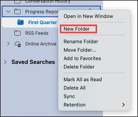 Shows selecting a folder in Outlook