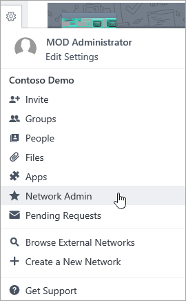 Screenshot of Settings menu with Network Admin highlighted