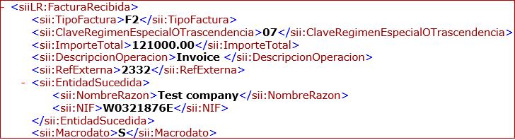 Exported XML
